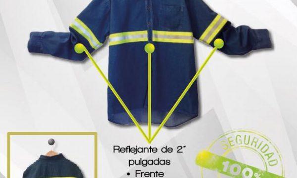 Camisa de mezclilla con reflejante amarillo
